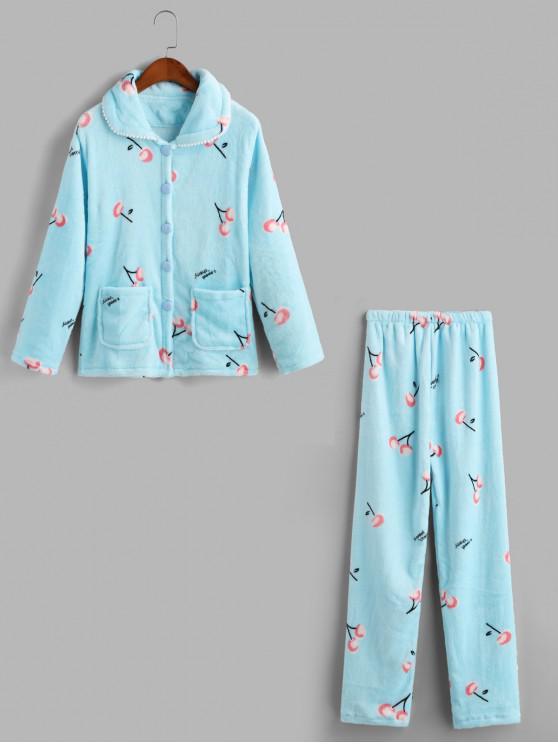 latest Cherry Fuzzy Pocket Pajama Pants Set - POWDER BLUE XS
