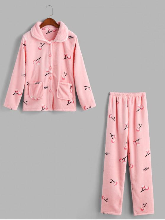 latest Cherry Fuzzy Pocket Pajama Pants Set - PINK XS