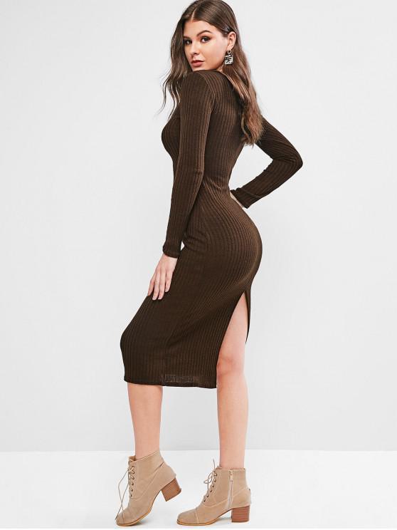 best V Neck Solid Sheath Knit Dress - COFFEE M