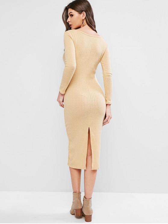 fashion V Neck Solid Sheath Knit Dress - CREAM L