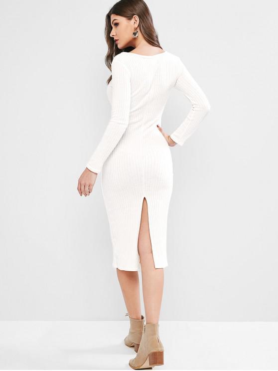 new V Neck Solid Sheath Knit Dress - WHITE L