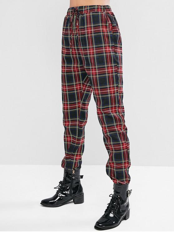 fancy ZAFUL Plaid High Waist Drawstring Pants - MULTI-A S