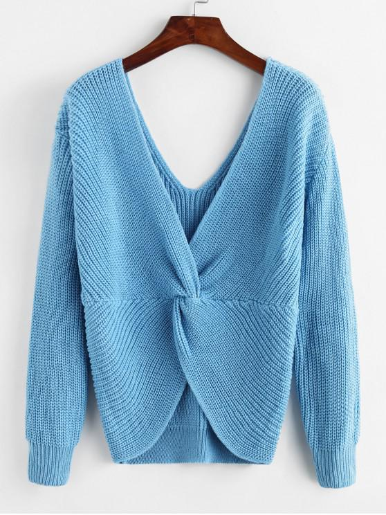 fancy ZAFUL x Yasmine Bateman Twisted Plunging Drop Shoulder Jumper Sweater - BLUE KOI L