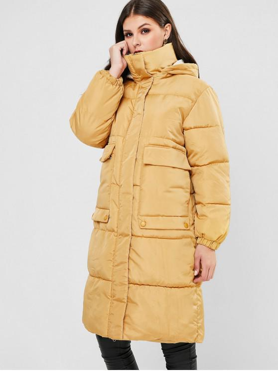 trendy Hooded Flap Pocket Zip Up Long Puffer Coat - BEE YELLOW L