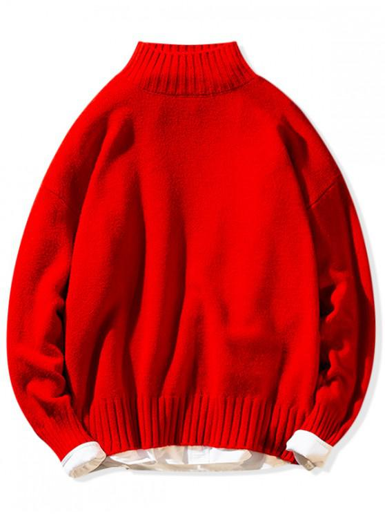 online Solid Mock Neck Casual Pullover Sweater - RED M