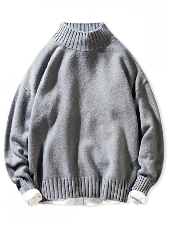 affordable Solid Mock Neck Casual Pullover Sweater - GRAY M