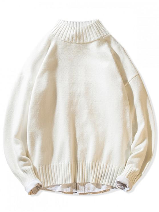 latest Solid Mock Neck Casual Pullover Sweater - WHITE S