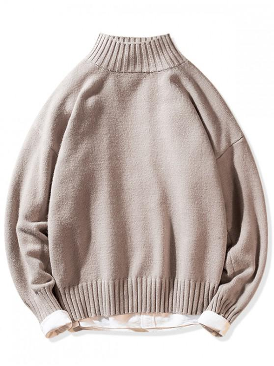 trendy Solid Mock Neck Casual Pullover Sweater - PINK L