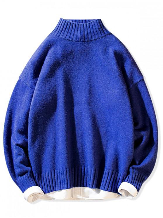 無地 モックネック カジュアル プルオーバー セーター - 青 S