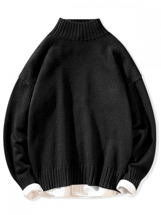 Einfarbiger Stehkragen Lässige Pullover - Schwarz L