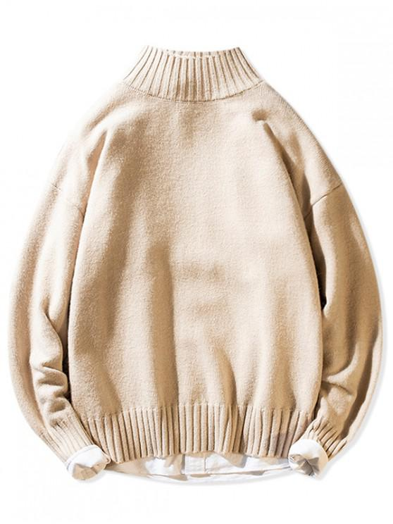women Solid Mock Neck Casual Pullover Sweater - WARM WHITE S
