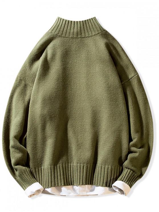 Sólido Medio Cuello Suéter Casual - Ejercito Verde M