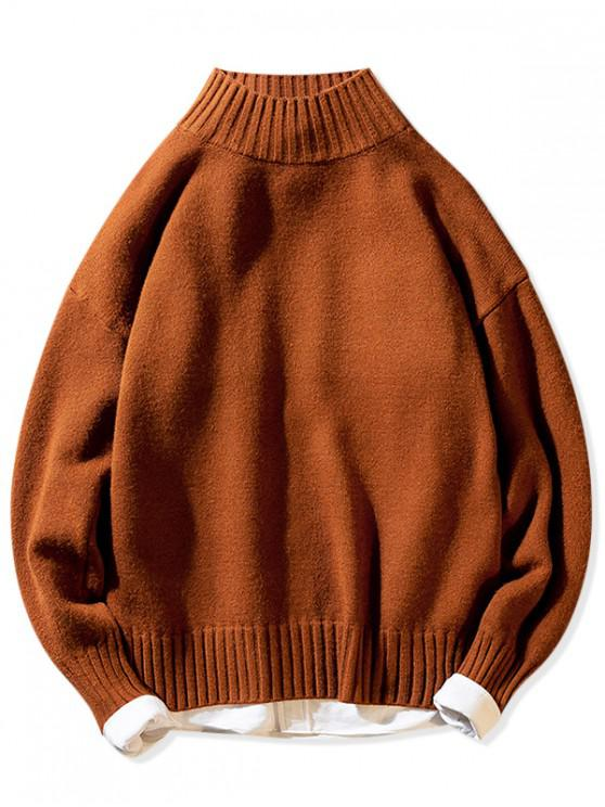 unique Solid Mock Neck Casual Pullover Sweater - COFFEE XS