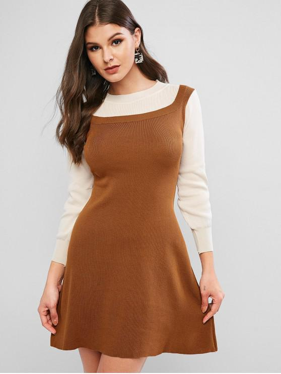 hot Lantern Sleeves Two Tone Flared Knit Dress - BROWN ONE SIZE