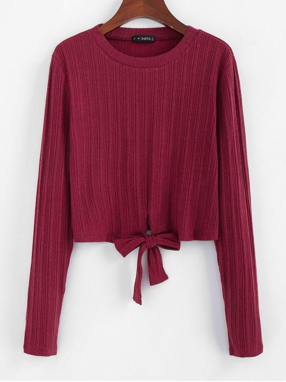 buy ZAFUL Self-tie Ribbed Knit Top - CHERRY RED L