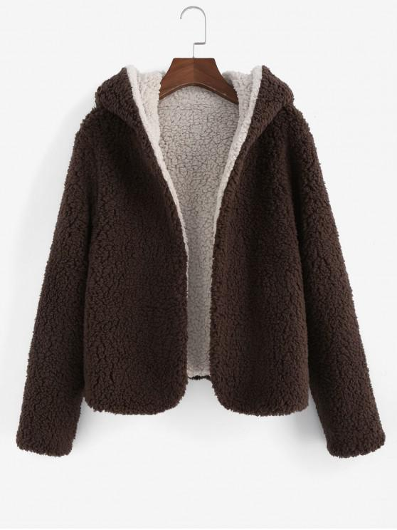 outfit ZAFUL x Alexis Ricecakes Hooded Reversible Teddy Coat - COFFEE S