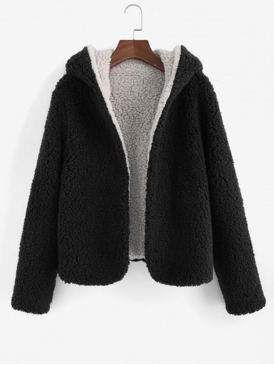 women ZAFUL x Alexis Ricecakes Hooded Reversible Teddy Coat - NIGHT XL