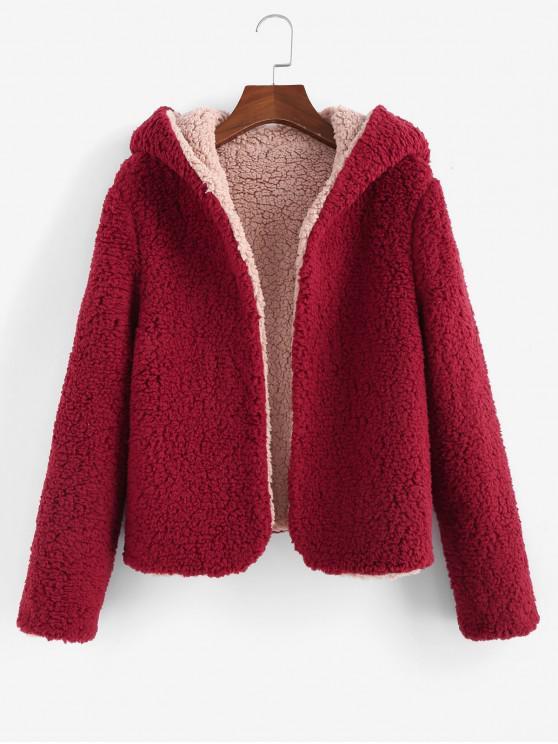 women's ZAFUL x Alexis Ricecakes Hooded Reversible Teddy Coat - FIREBRICK M