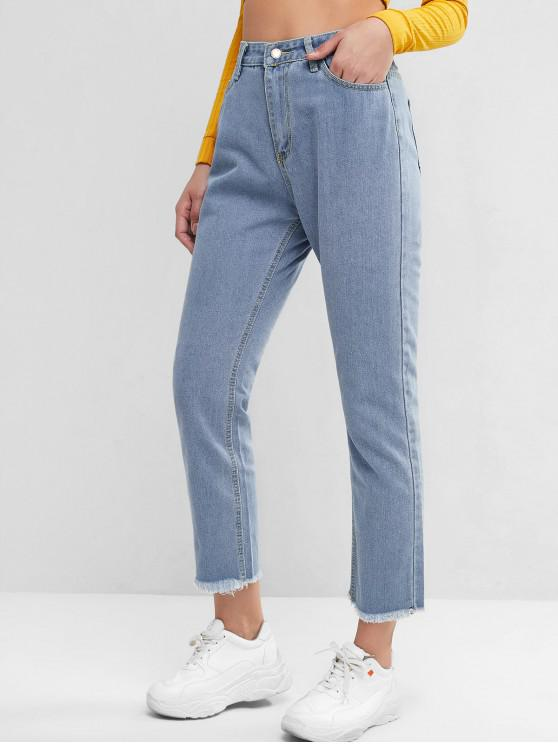 ladies High Waisted Stars Frayed Hem Straight Jeans - BLUE L