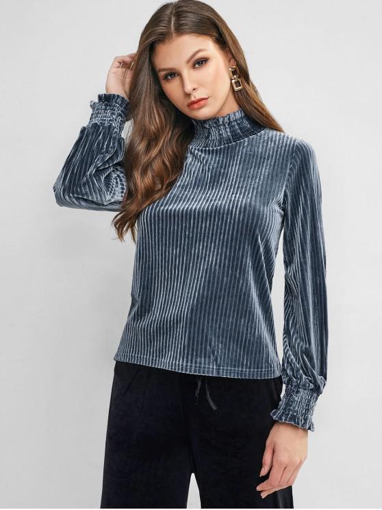 trendy Velvet Lantern Sleeve High Neck Tee - BLUE GRAY M