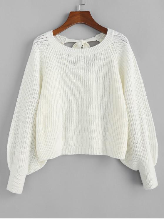 womens ZAFUL Knotted Back Lantern Raglan Sleeve Sweater - MILK WHITE M