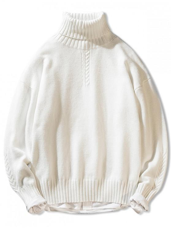 unique Solid Color Casual Pullover Turtleneck Sweater - WHITE XS