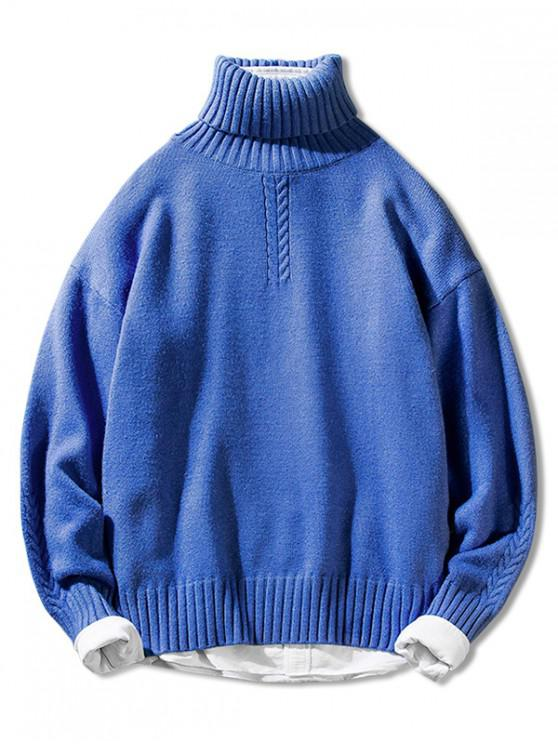 women Solid Color Casual Pullover Turtleneck Sweater - BLUE M