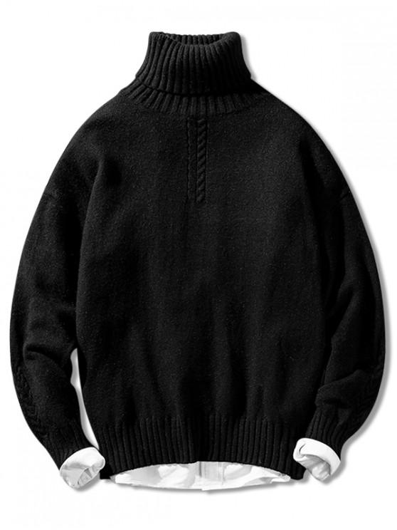 ladies Solid Color Casual Pullover Turtleneck Sweater - BLACK S