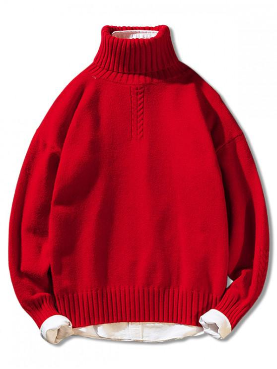 new Solid Color Casual Pullover Turtleneck Sweater - RED M