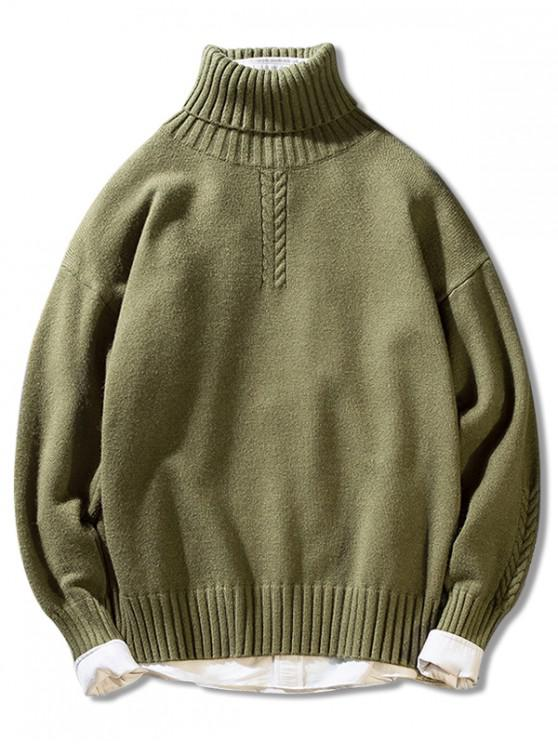outfits Solid Color Casual Pullover Turtleneck Sweater - GREEN M