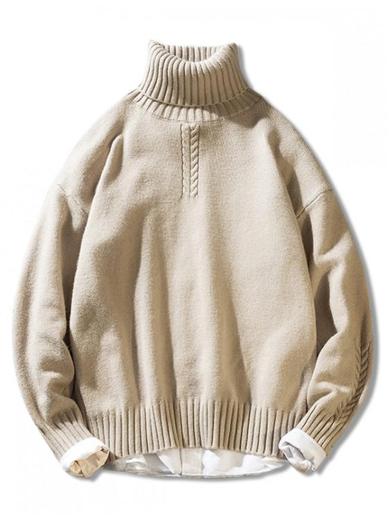 shops Solid Color Casual Pullover Turtleneck Sweater - BEIGE S