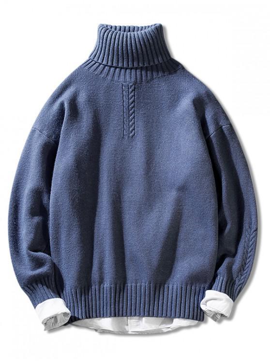 Casual color sólido suéter de cuello alto suéter - Azul Claro M