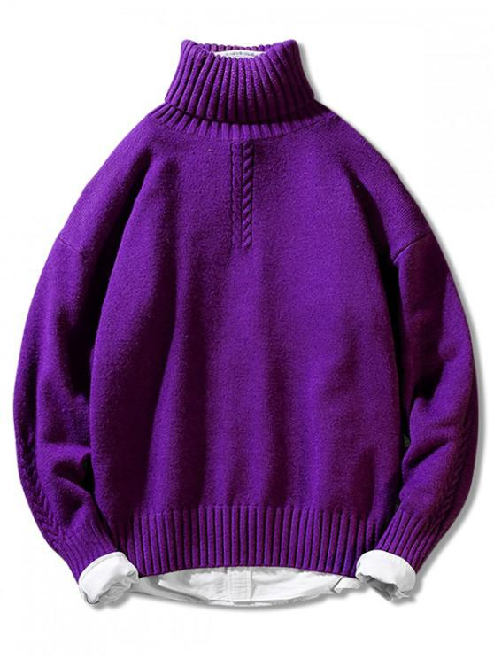 sale Solid Color Casual Pullover Turtleneck Sweater - MEDIUM VIOLET RED M