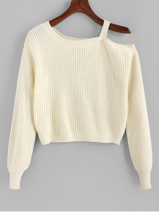 fashion Skew Neck Sweater - BEIGE L