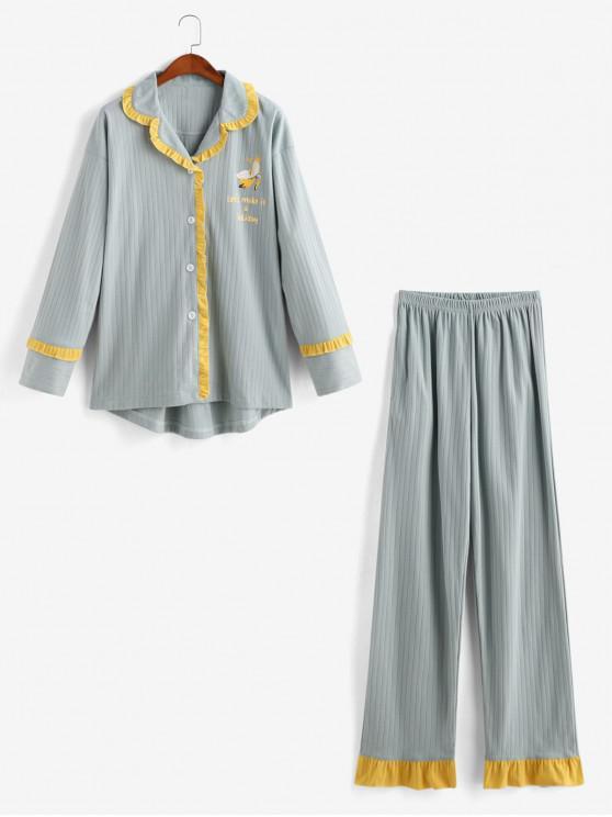 buy Letter Graphic Ruffle Pajama Pants Set - PALE BLUE LILY 2XL