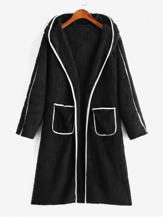 Contrasto Binding Aprire abbottonatura doppia tasca Fluffy Coat - Nero L