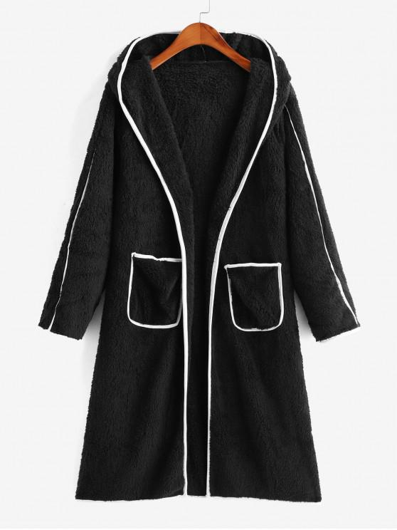 affordable Contrast Binding Open Placket Dual Pocket Fluffy Coat - BLACK S