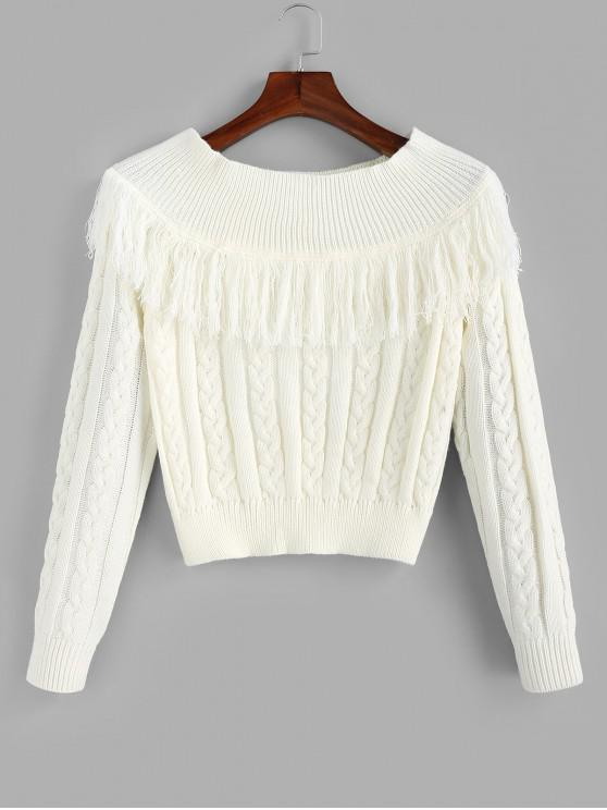 fancy Cable Knit Tassel Sweater - WHITE L