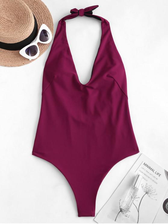 lady ZAFUL Halter Low Back One-piece Swimsuit - PLUM VELVET M