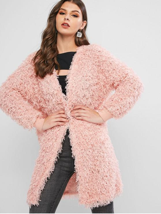 outfit ZAFUL Dual Pocket Open Placket Fluffy Textured Coat - ROSE M