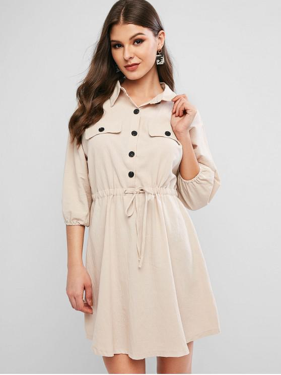 affordable Drawstring Waist Half Buttoned Mini Casual Dress - LIGHT KHAKI M