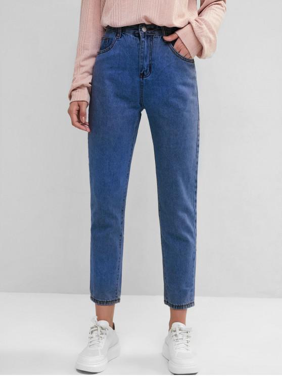 new Basic Mom Jeans - DEEP BLUE XS