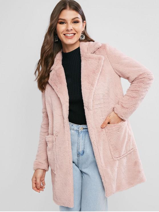 lady ZAFUL Faux Fur Open Front Pocket Longline Coat - PINK S