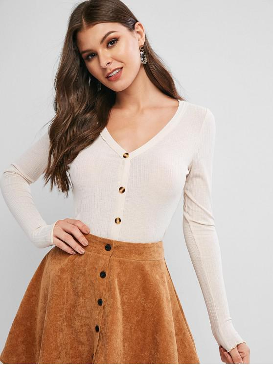 trendy ZAFUL Lettuce Trim Buttoned Front Ribbed Top - BEIGE S