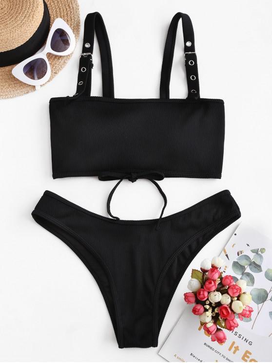 unique ZAFUL Buckled Lace-up Ribbed Bikini Swimsuit - BLACK S