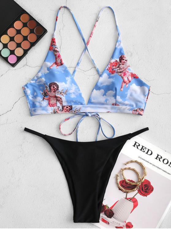 women ZAFUL Angel Print Cross Contrast String Bikini Swimsuit - BLACK S