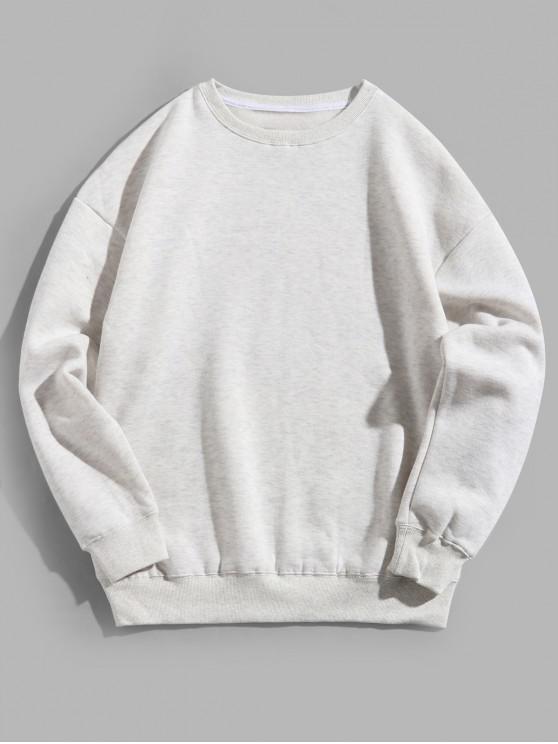 new Solid Color Crew Neck Fleece Basic Sweatshirt - LIGHT GRAY L