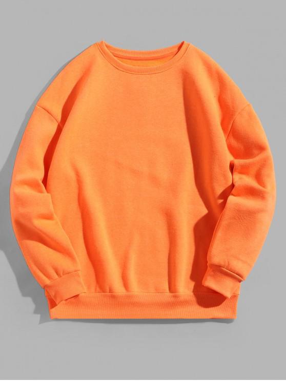 Solid Crew Neck color Fleece Sudadera básica - Naranja 2XL