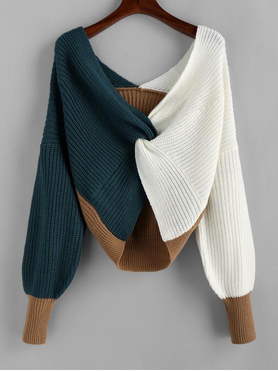 shop Plunge Colorblock Twist Sweater - MULTI-A M