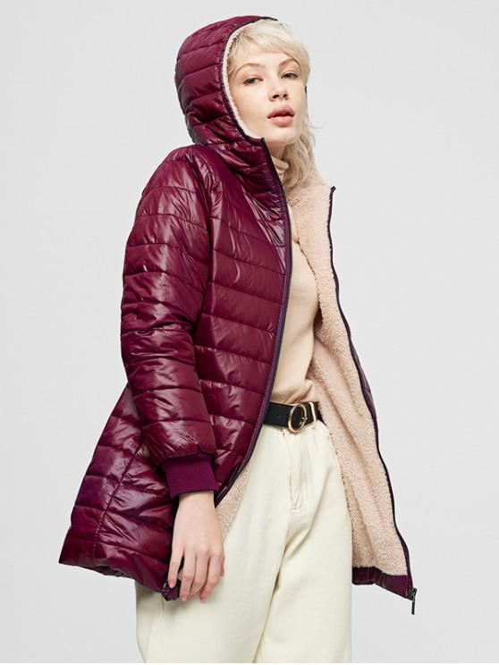 new Fluffy Lined Hooded Zip Pocket Padded Coat - RED WINE M
